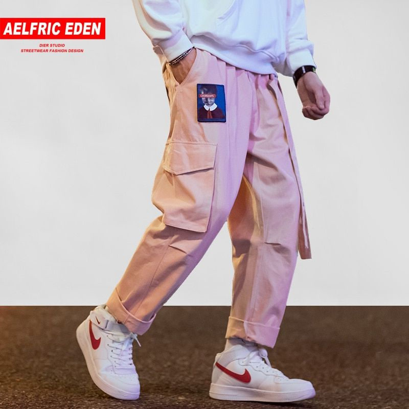 Aelfric Eden Men Joggers Hip Hop Harem Sweat Pants Male Ribbons Letter Embroidery Casual Trousers Popular Pink Cargo Pants UR45