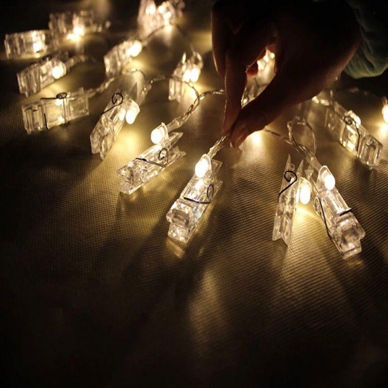 2 м Мини 20 LED 3xAA батареи карты фото клип строки Рождество огни Новый год свадьбу украшения дома гирляндой