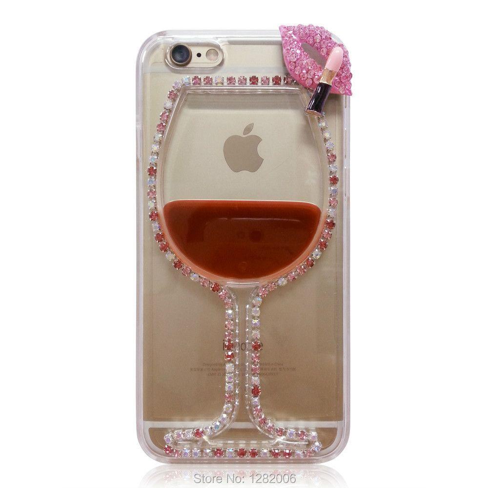 Banjolu Bling Прозрачный чехол для 3D со стразами красное вино чашки Средства ухода за губами жидкость телефон чехол для iPhone 4S 5S 6S 7 плюс 8 X Обложка
