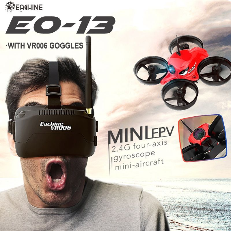 In Stock! Eachine E013 Micro FPV Racing Quadcopter With 5.8G 1000TVL 40CH Camera VR006 VR-006 3 Inch Goggles <font><b>Glasses</b></font> Headset