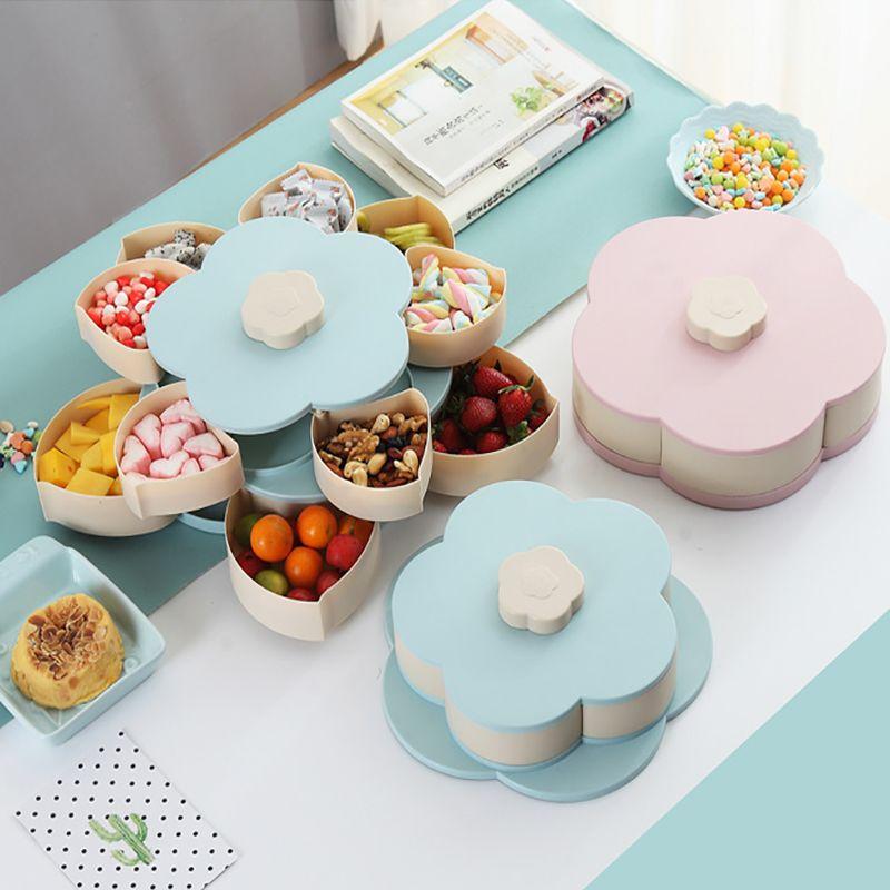 Motif Rotation 2-couche pétale boîte à bonbons écrou Case Snack boîte de rangement conteneur salon rotatif fruits plaque organiseur de bureau