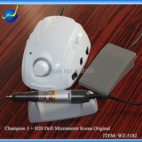 New Champion Micromotor Original Saeyang H20 Brush Motor Handpiece Hand Polisher Nail Drill for Chiropody Podiatry Manicure