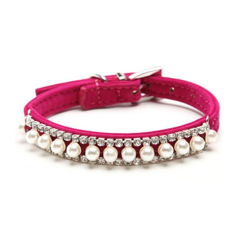 Joyería de moda Para Mascotas Perro Bling Accesorios de Perlas Collar Cristalino Del Rhinestone Collar Collares para Perros Gatos Perros de Perrito 5 Colores