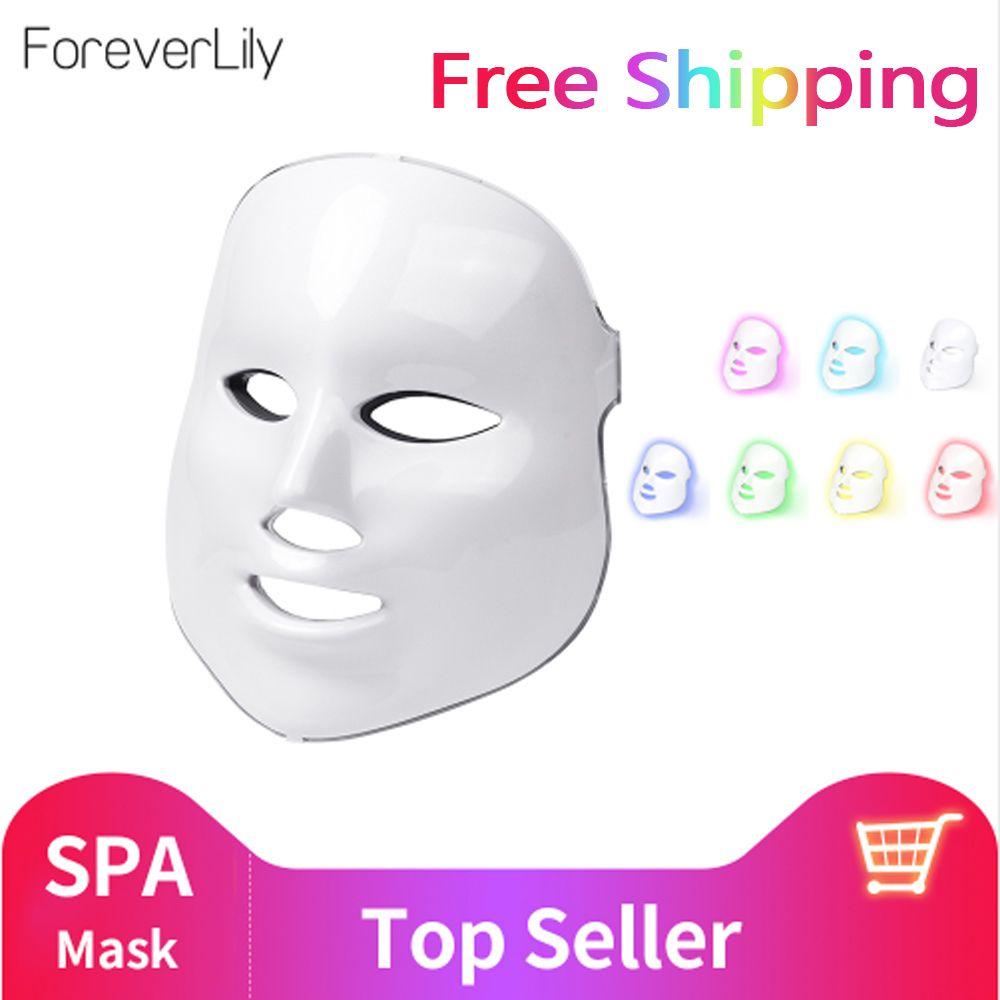 Foreverlily Beauté led photon masque facial Thérapie 7 couleurs Lumière Soins de La Peau Rajeunissement Rides traitement de l'acné Visage Beauté Spa