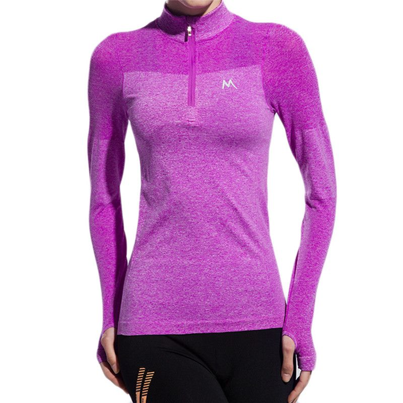Hot! Long-sleeved Sports T-shirt 1/4 Zipper Jacket For Gym Fitness  Running Jogging Yoga Exercise Quick-drying Breathable Shirts
