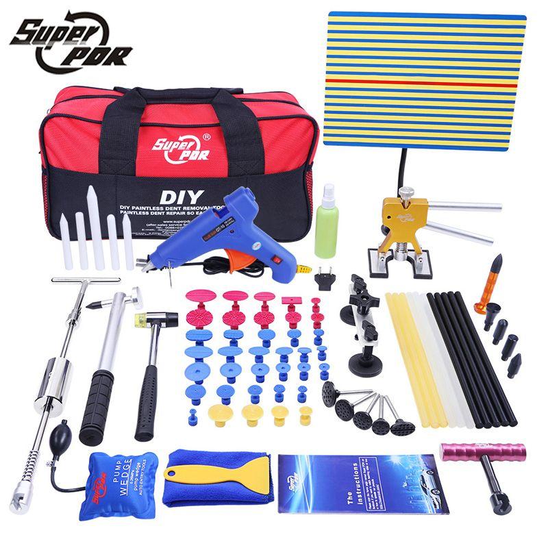 PDR Outils Ensemble Paintless Dent De Réparation De Voiture Dent Élimination Main Tool Set PDR Réflecteur Conseil dent puller Slide Hammer colle gun outils