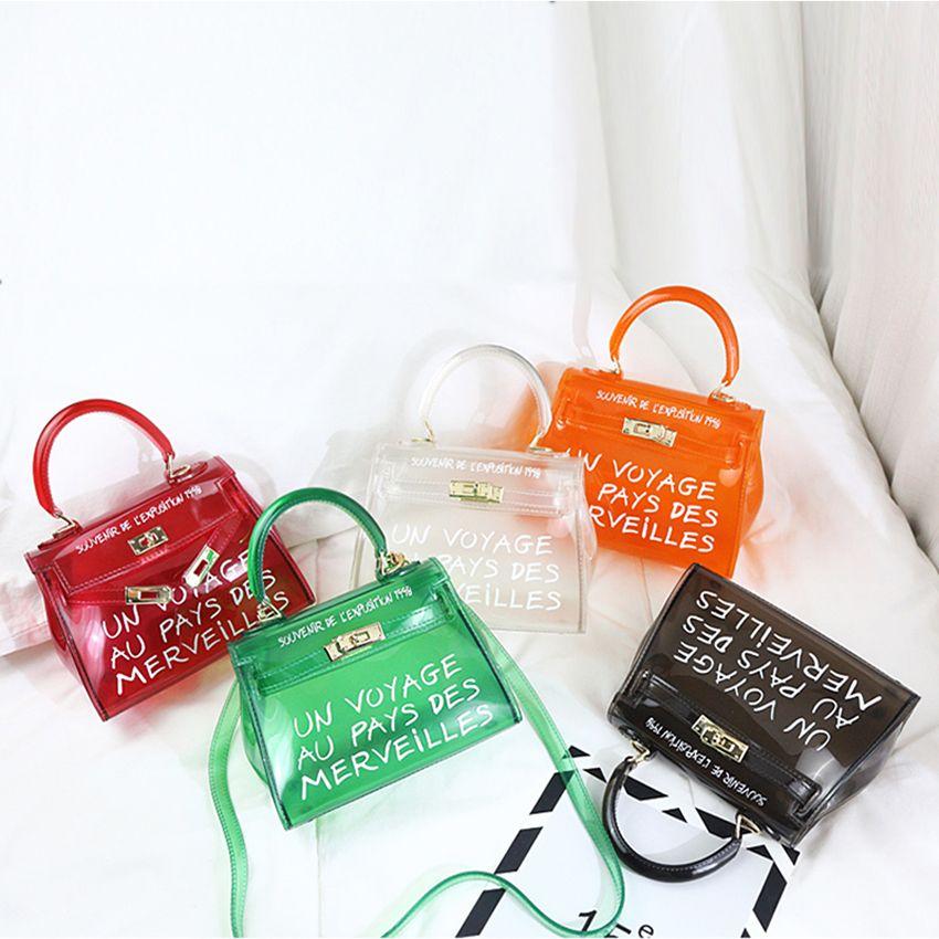 Cool and beach transparent bag women big clear orange pvc Transparent Women Plastic Bag PVC Jelly Handbags Letter Printing Bag