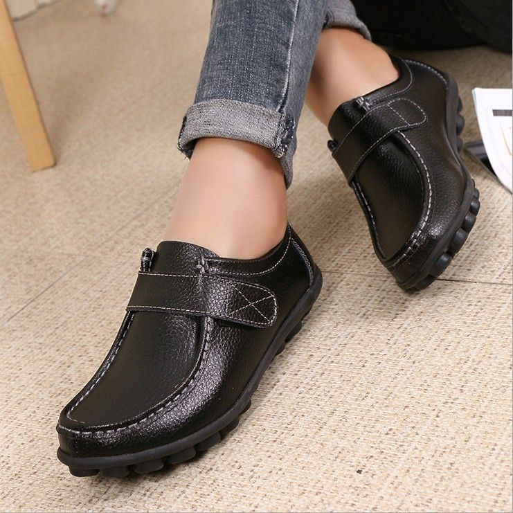 Большой Размеры женская повседневная обувь 2017 Пояса из натуральной кожи для мам женские Обувь повседневная обувь для вождения Обувь шнуров...