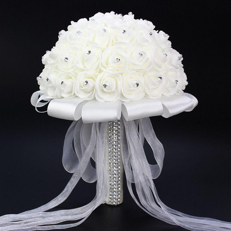 2016 Impresionante Crystal Artificial Ramo De La Boda Ramos de Novia Accesorios De La Boda de Rose Flores De Mariage Nupcial Ramo