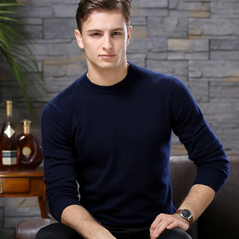 ailaile 2018 winter warm thick sweater men brand 100% pure cashmere sweater O-Neck long sleeve soft knitted formal pullover