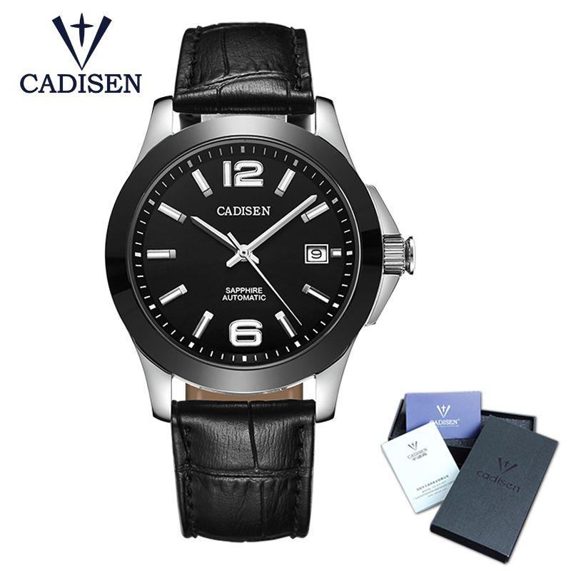 CADISEN montres classique hommes AUTO Date automatique montre mécanique analogique squelette noir cuir homme noir montre-bracelet en céramique