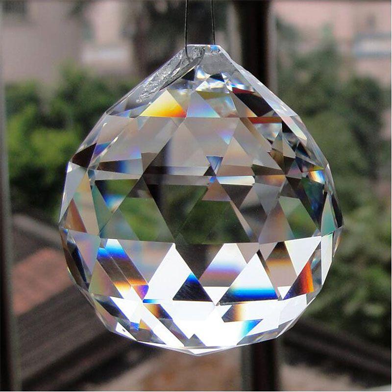 50/60/70/80mm Cristal Suspendu Boules À Facettes Prisme En Verre Lustre Pendentifs Perles Rideau ornement Décor À La Maison BRICOLAGE
