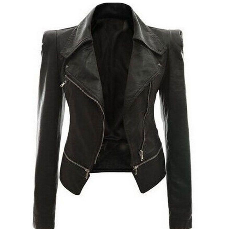 2018 Coat HOT Jacket Women Winter Autumn Fashion Motorcycle Jacket Black faux leather coats Outerwear Dropshipping