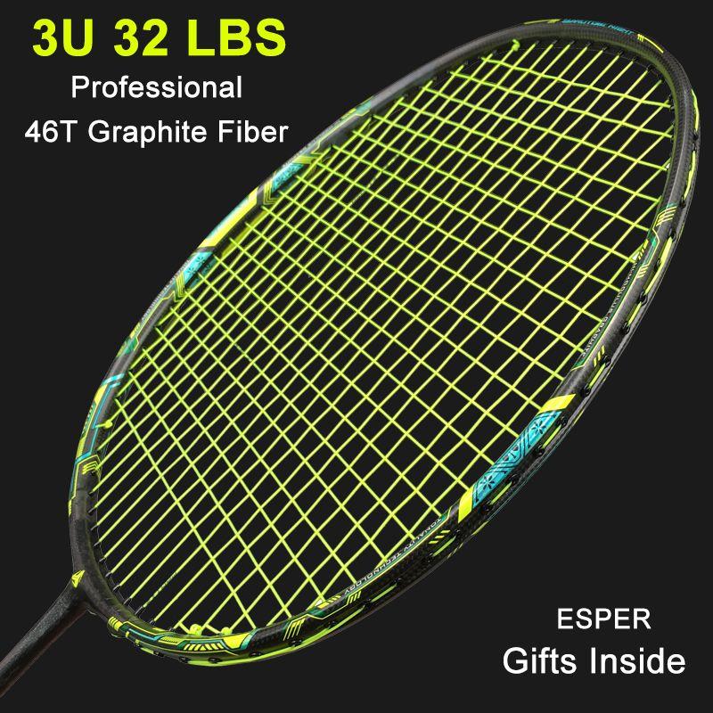 Esper Berufs Carbon Badminton Schläger 32Lbs 3U Super Foerce Woven Mit String Schläger Hohe Spannung Tennisschläger Für Erwachsene