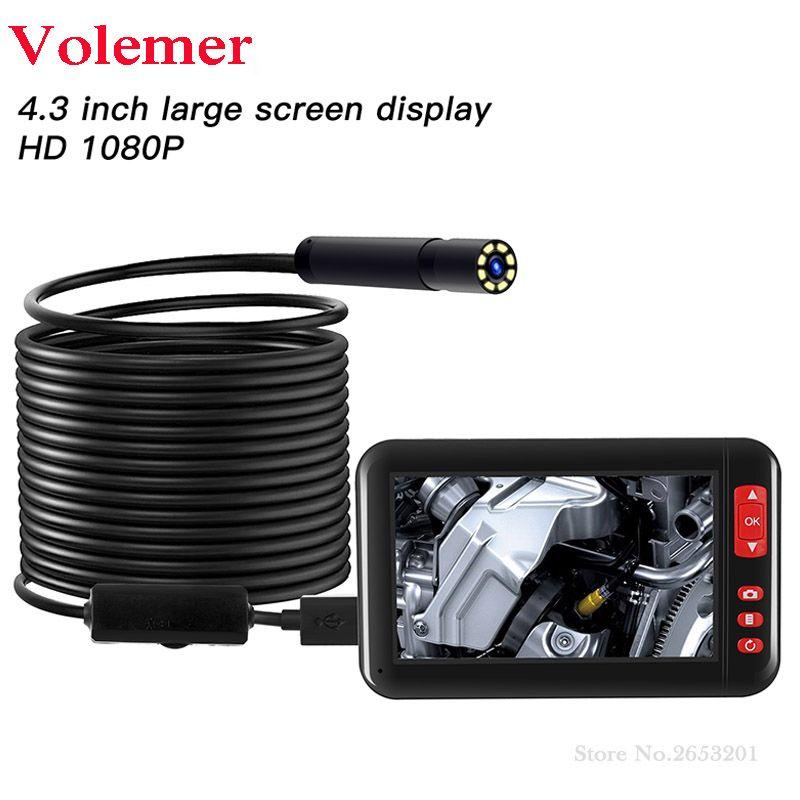 Caméra Endoscope Volemer 2 M/5 M/10 M 8mm F200 HD 1080 P 4.3 pouces écran d'affichage caméra Endoscope d'inspection 8 lumière LED pour Android