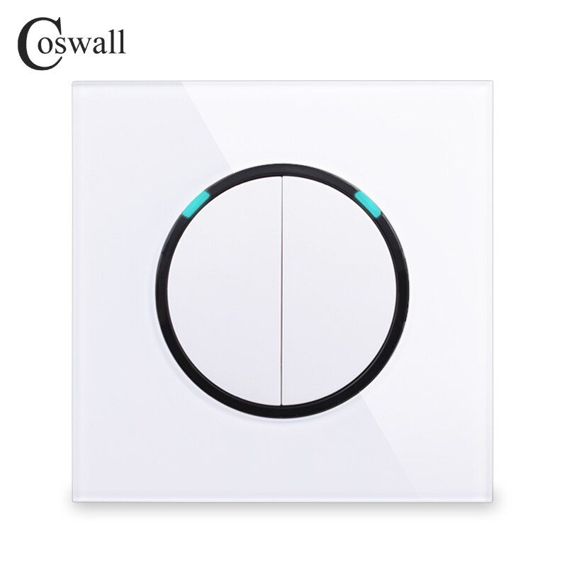 Coswall 2018 New Arrival Crystal Glass Panel 2 Gang 1 Way Random Click On / Off Wall Light Switch With LED Indicator