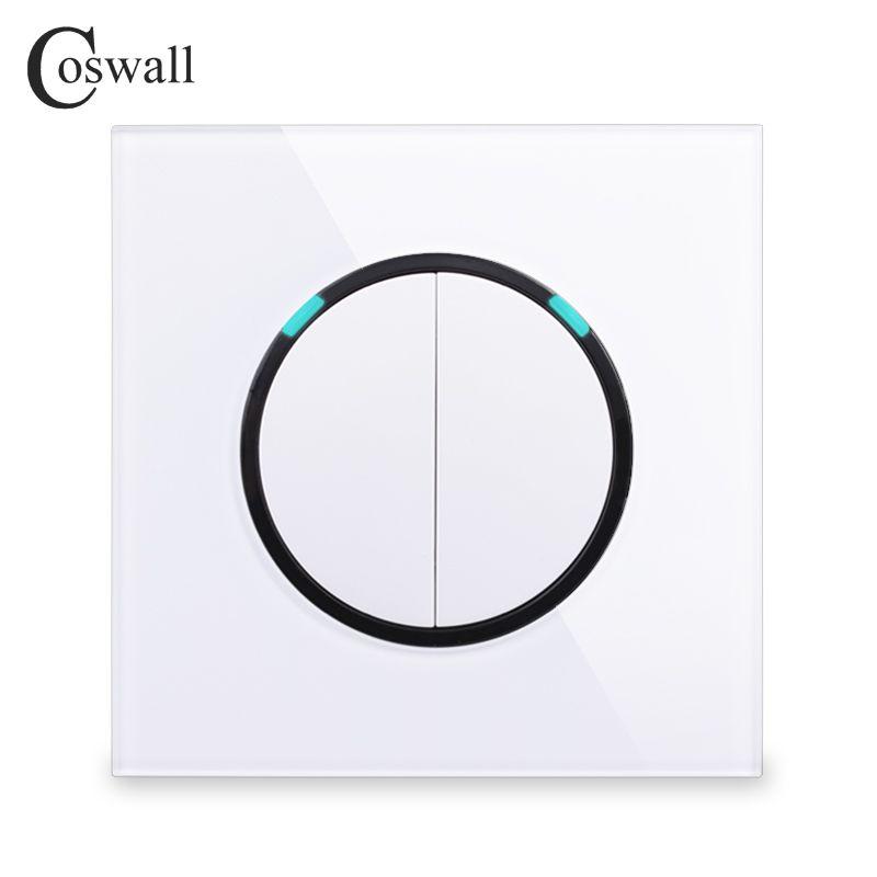 Coswall 2018 nouveauté panneau en verre cristal 2 Gang 1 voie aléatoire cliquez sur/Off applique murale interrupteur avec témoin LED