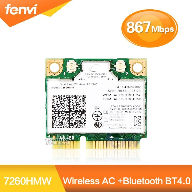 Carte Wifi sans fil double bande pour Intel 7260 AC 7260HMW Mini PCI-E 2.4G/5Ghz Bluetooth 4.0 Wlan adaptateur Wi-Fi 802.11ac/a/b/g/n
