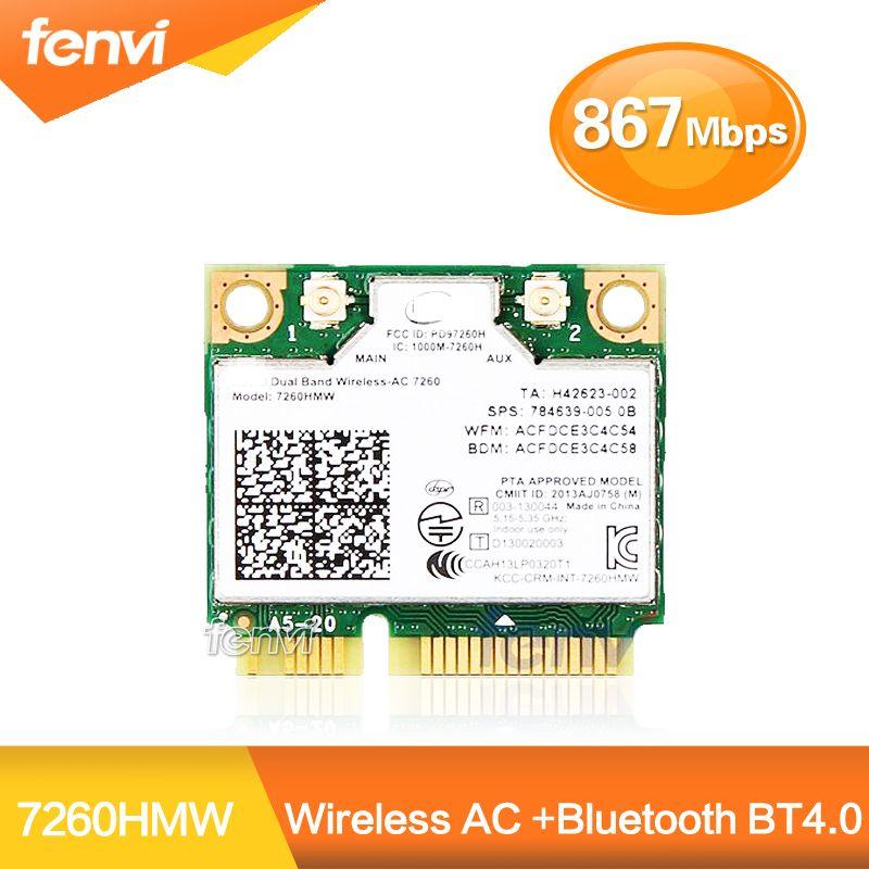 Double Bande Sans Fil carte wifi Pour Intel AC7260 7260HMW ac Mini PCI-E 2.4G/5 Ghz Wlan Bluetooth 4.0 carte wifi 802.11 ac/a/b/g/n