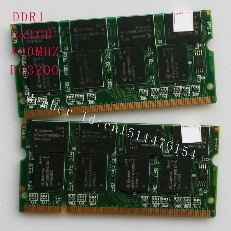 Notebook memory NEW 2GB 2x1GB PC3200 DDR400 400Mhz 200pin DDR1 Sodimm Laptop Memory RAM Free Shipping