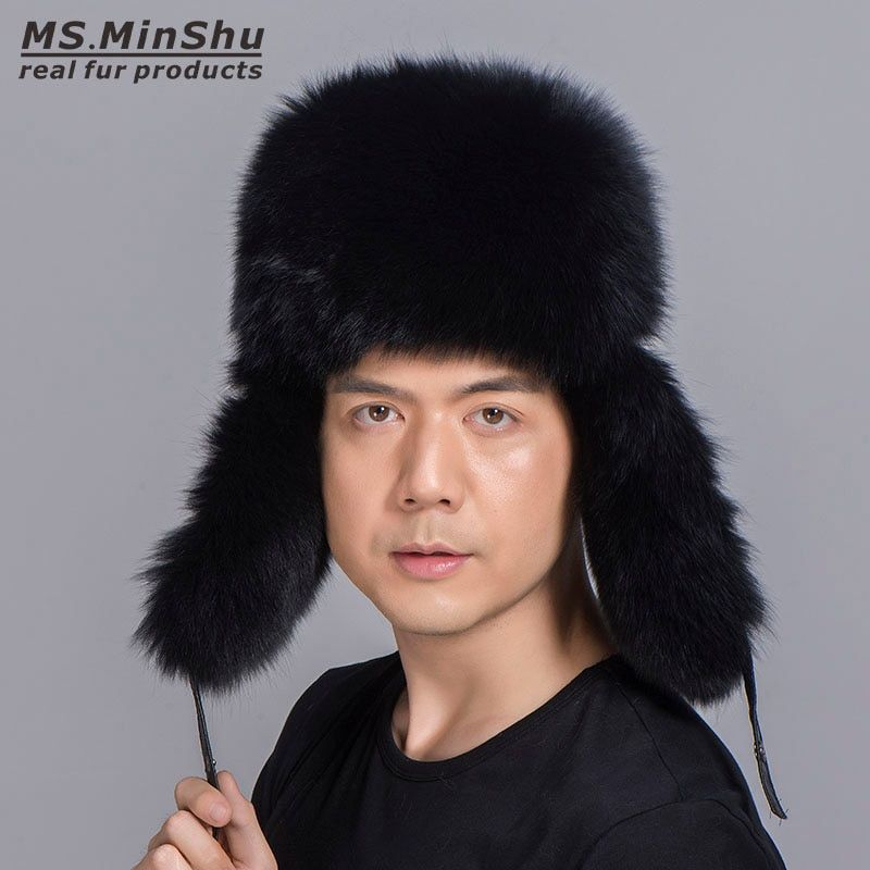 Ms.MinShu Silver Fox Fur Hat with Sheepskin leather Outer shell Russian Fur Hat Unisex Winter Earflap Natural Fox Fur Cap