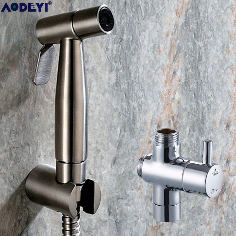 Ensemble de Douche à jet de Bidet de poche toilette Shattaf pulvérisateur kit de Douche robinet de Bidet, Nickel brossé, acier inoxydable 304