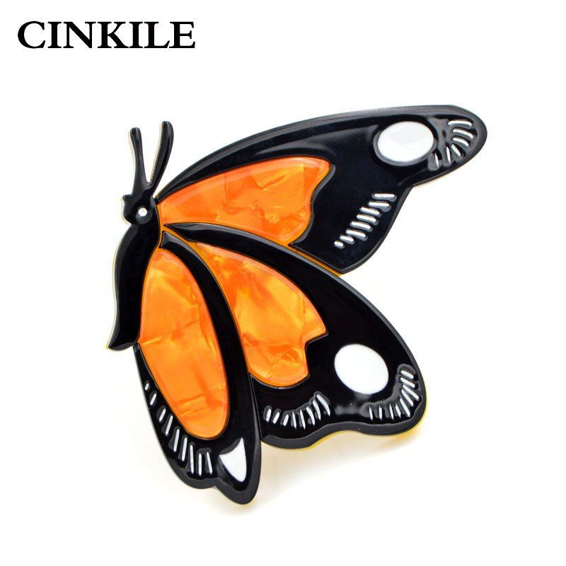 CINKILE Cute Yellow Color Butterfly Brooches for Women Acrylic Insect Pin Acetate Fiber Broches High Quality 2018 New Gift