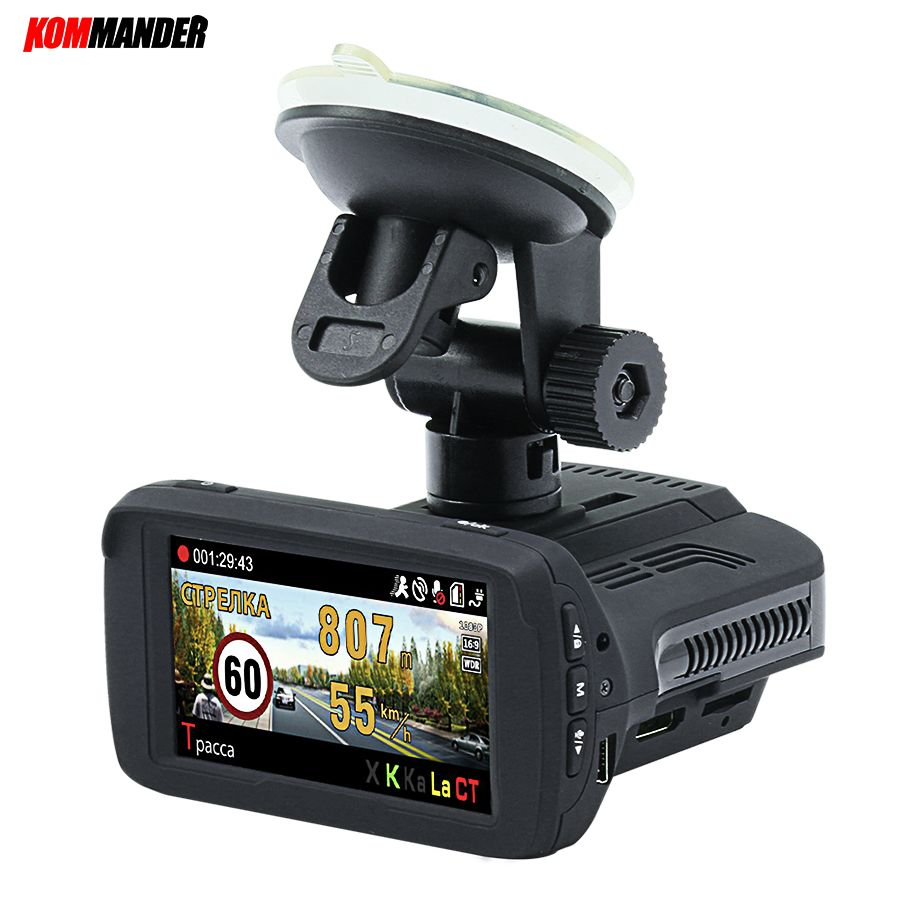 Kommander Ambarella A7LA50 Car Camera Car Dvr Radar Detector built-in GPS base of speedcam cameras 3 in 1 Dashcam for Russian