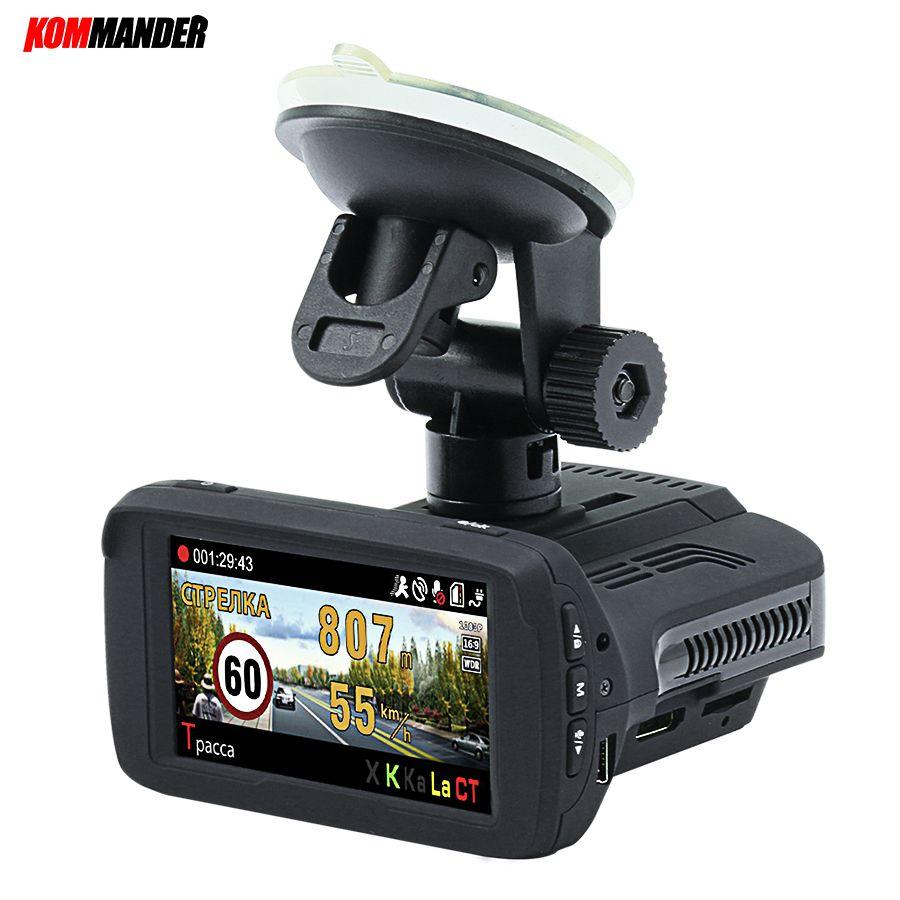 Kommander Ambarella A7LA50 Car Camera Car Dvr <font><b>Radar</b></font> Detector built-in GPS base of speedcam cameras 3 in 1 Dashcam for Russian