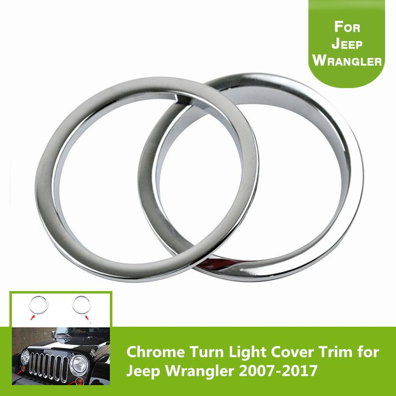 Pair Chrome Turn Signal Light Cover Trim for Jeep Wrangler JK Unlimited 2&4 Door 2007-2017