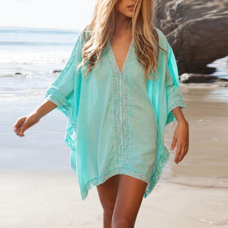 Neue Frauen Mädchen Beachwear Bikini Beach Wear Cover Up Kaftan Sommer-shirt-kleid Bademode