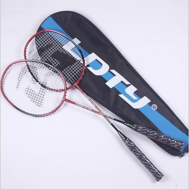 JUNRUI 1 Pair Offensive & defensive Badminton Rackets With Strings Carbon Badminton Sports Racquet Sports Overgrip Racket LD2016