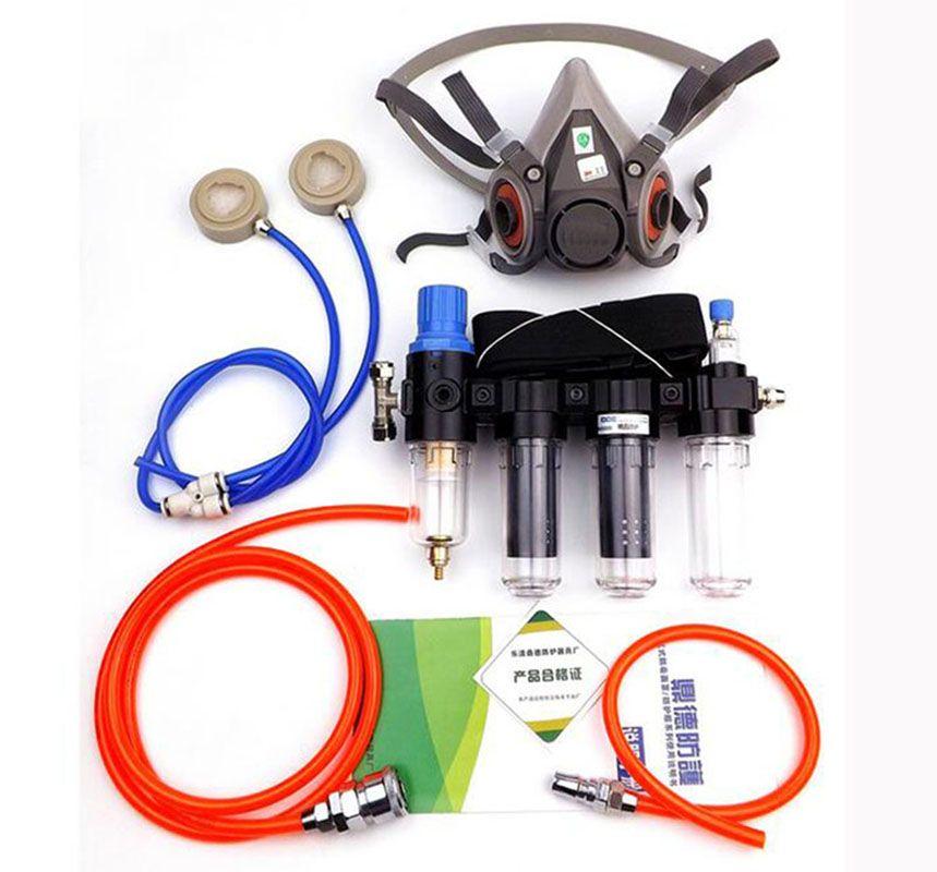 Vier-In-One Industrie Funktion Geliefert Air Federal Atemschutzmaske System Mit 6200 Half Face Chemische Gasmaske