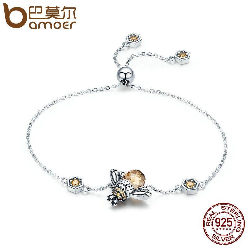 BAMOER <font><b>Genuine</b></font> 100% 925 Sterling Silver Dancing Honey Bee Chain Link Women Bracelet Crystal Big Stone Bracelet Jewelry SCB043