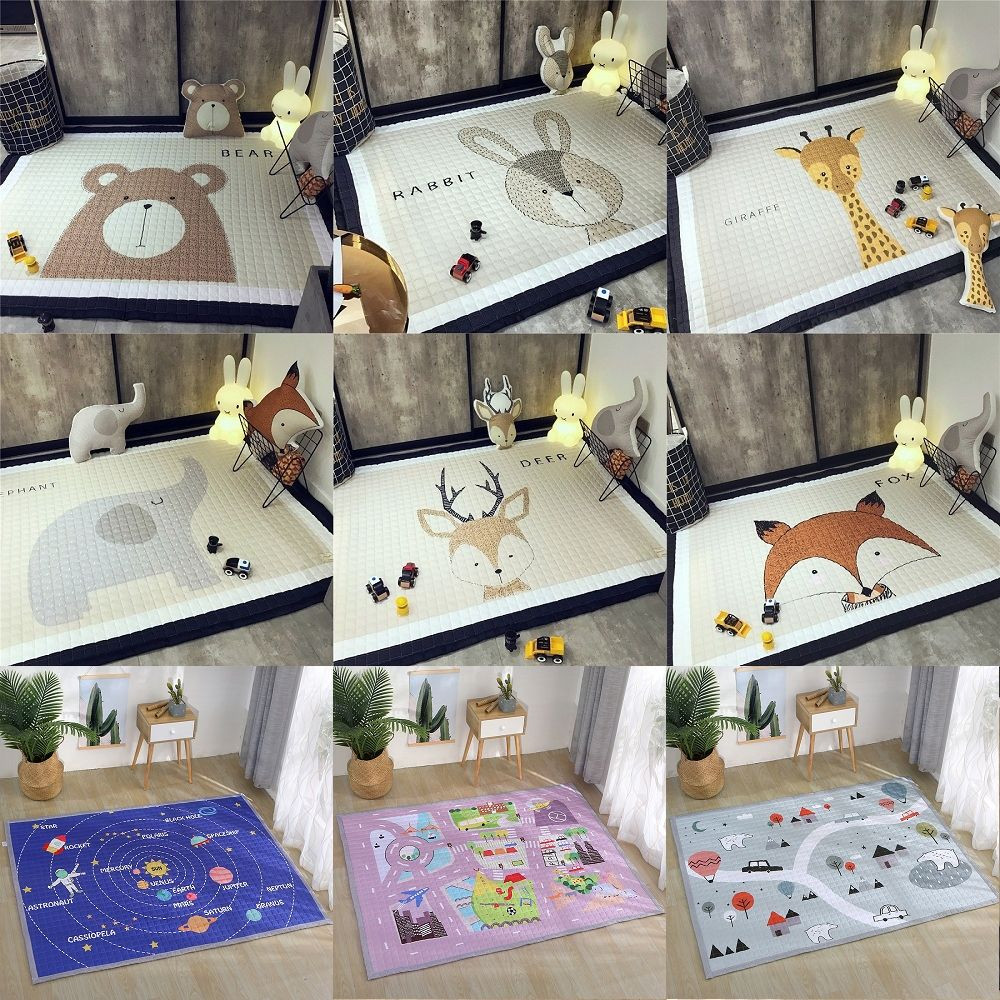 Tiere Deer Elephant Fox Bär Giraffe Anti-skid Baby Spielen Matten Decke Kinder Teppich Nordic Stil Room Home Decor foto Requisiten