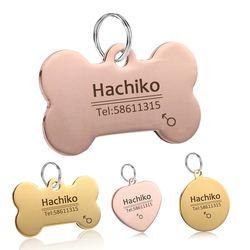 YVYOO perro mascota gato perro accesorios decoración envío grabado personalizado etiquetas de identificación de mascotas collares de acero inoxidable etiqueta del gato BB