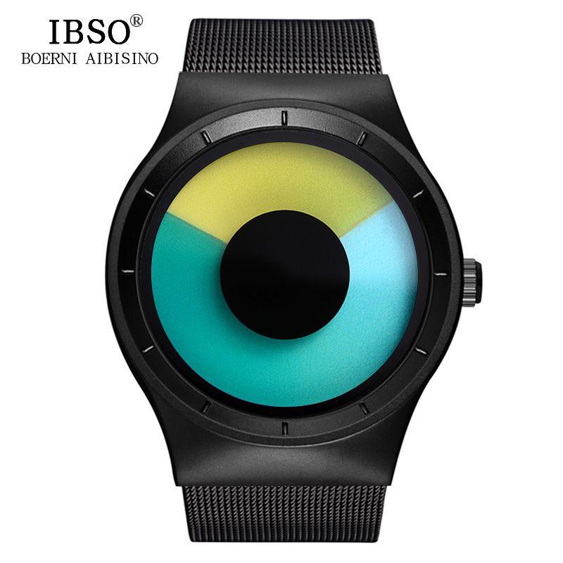 IBSO Creative Hommes Montres 2018 Top Marque De Luxe En Acier Inoxydable Montre-Bracelet Des Hommes Montre À Quartz Homme Horloge Relogio Masculino