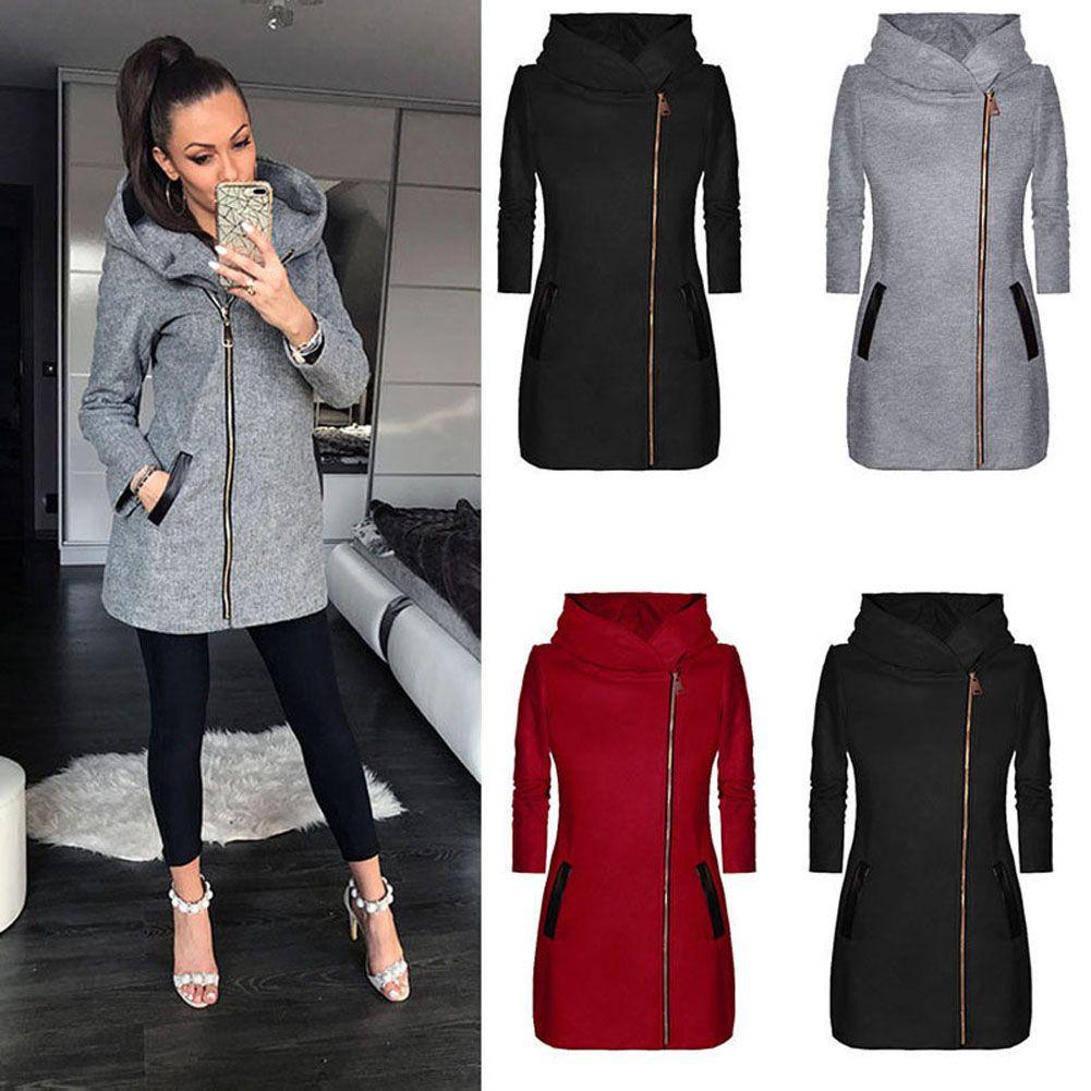 Automne Hiver Femmes Manteau À Capuchon Avec Le Chapeau À Manches Longues Épaissir Manteau Chaud Zipper Veste Outwear H9