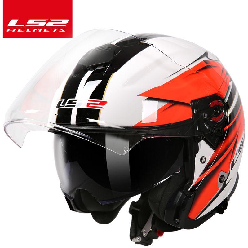 LS2 global store LS2 OF521 3/4 open face motorcycle helmet double lenses racing half helmets motorbike helmet cascos casque moto