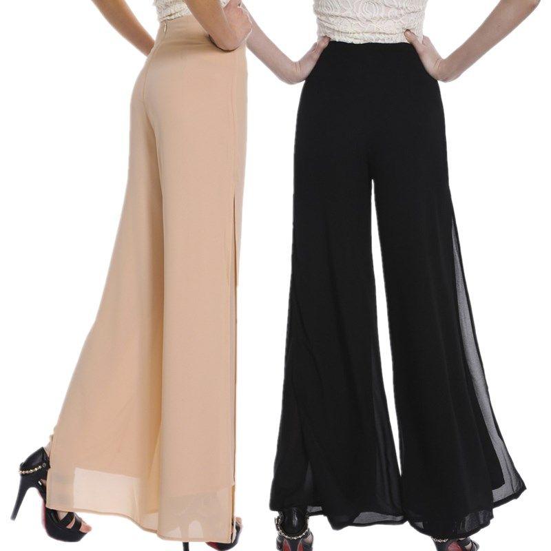 Femmes dames Vintage lâche taille haute Long pantalon en mousseline de soie côté fendu décontracté Palazzo pantalon large jambe pantalons tr