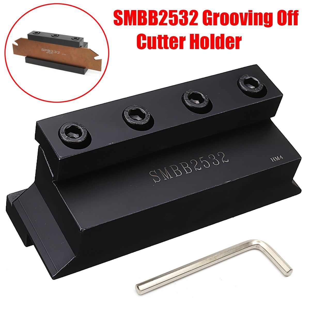 New 1Pc SMBB2532 Cut-Off Blade Holder 25mm for Lathe Cutting Tool with T Wrench for CNC Milling Cutter Tool
