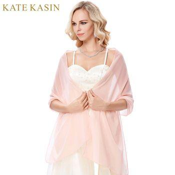Kate Kasin Longue Mousseline de Soie Nuptiale Wraps pour la Robe De Soirée lumière Rose Bleu Vert Violet Blanc Écharpe Femme De Mariage Châle Wrap