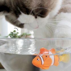 [MPK مخزن] ، بطارية تعمل بالطاقة الأسماك ، القط لعبة القط الأسماك