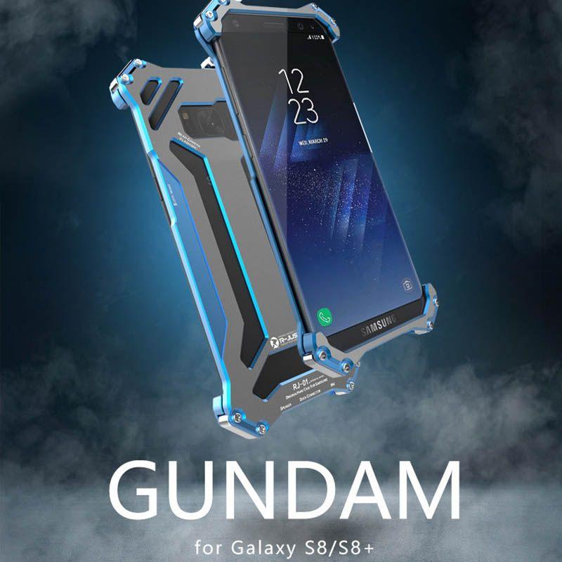 D'origine R-JUST Gundam Boîtier Métallique En Aluminium pour Samsung s8 Armure Anti-Coup de Téléphone étuis pour Samsung galaxy s8/s8 plus