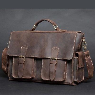 NEWEEKEND Handbag laptop iPad Bag Vintage Genuine Leather Crazy Horse Large 4 Pockets Camera Crossbody Briefcase for Man