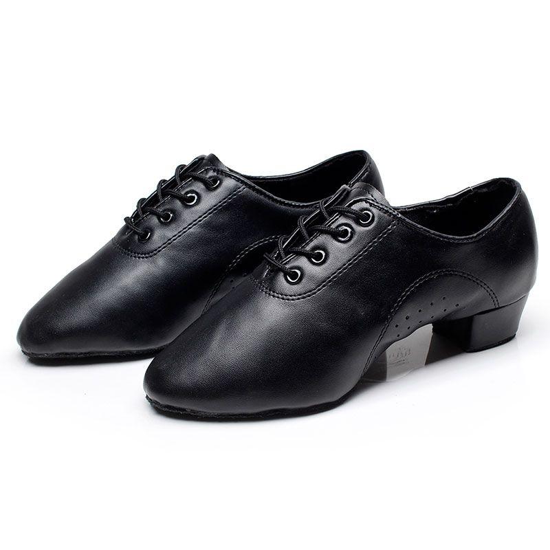 Мужская Латинской/Джаз танцевальная обувь Танцевальные Кроссовки кожзам практике обувь коренастый пятки черный оптовая продажа