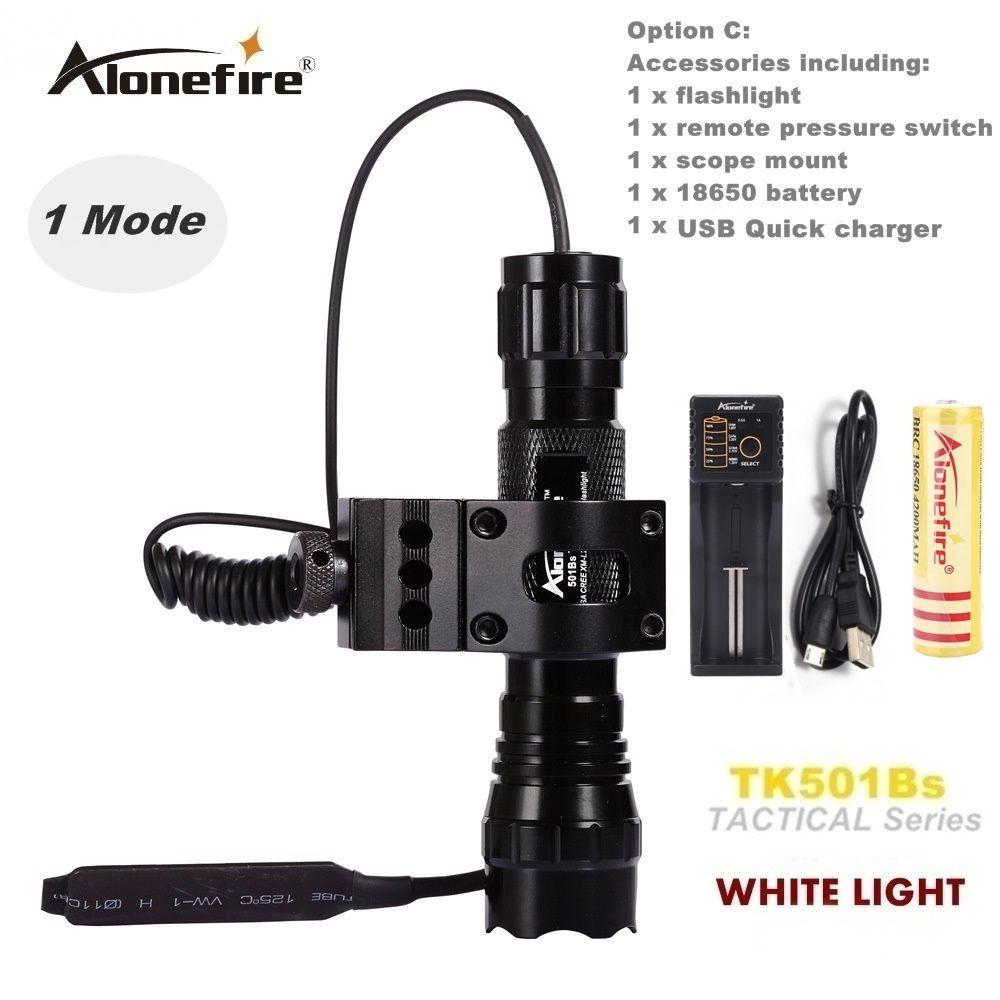 Alonefire CREE XM-L2 LED lampe de poche tactique 501B torche lanterne 20mm Rail Mount Airsoft fusil portée tir pistolet lumière 18650 batterie