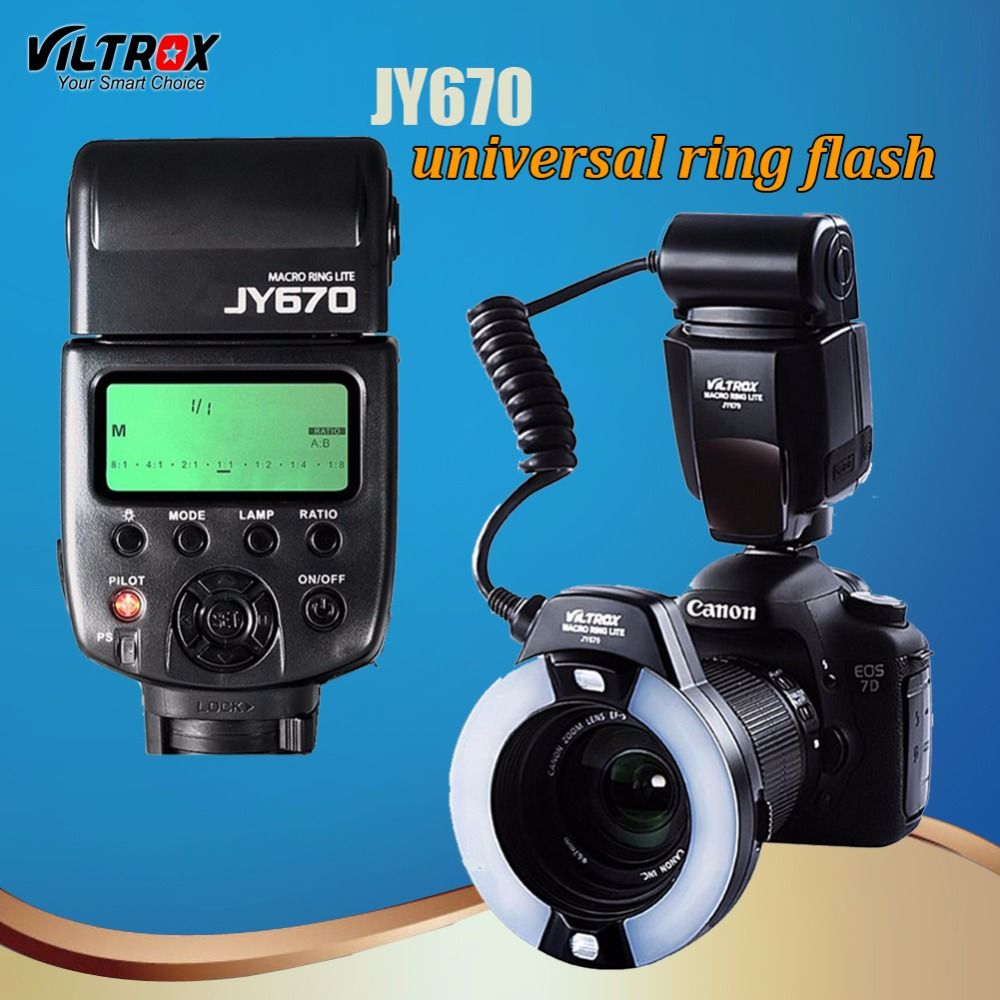Viltrox JY-670 LED Macro Ring Camera Speedlite Flash light for Canon 1300D 7D Mark II Nikon D810A 90D Pentax Olympus Panasonic