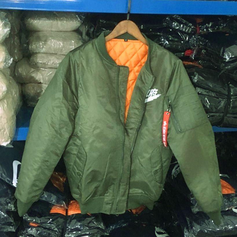 Ma1 Bomber thick Jacket 2017 winter jackets Pilot Outerwear Men Army Green Kanji Japanese Merch Flight Coat Streetwear printed