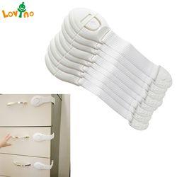 10 unids/lote cajón puerta gabinete armario aseo cerraduras de seguridad bebé niños seguridad plástico cerraduras correas para protección bebé
